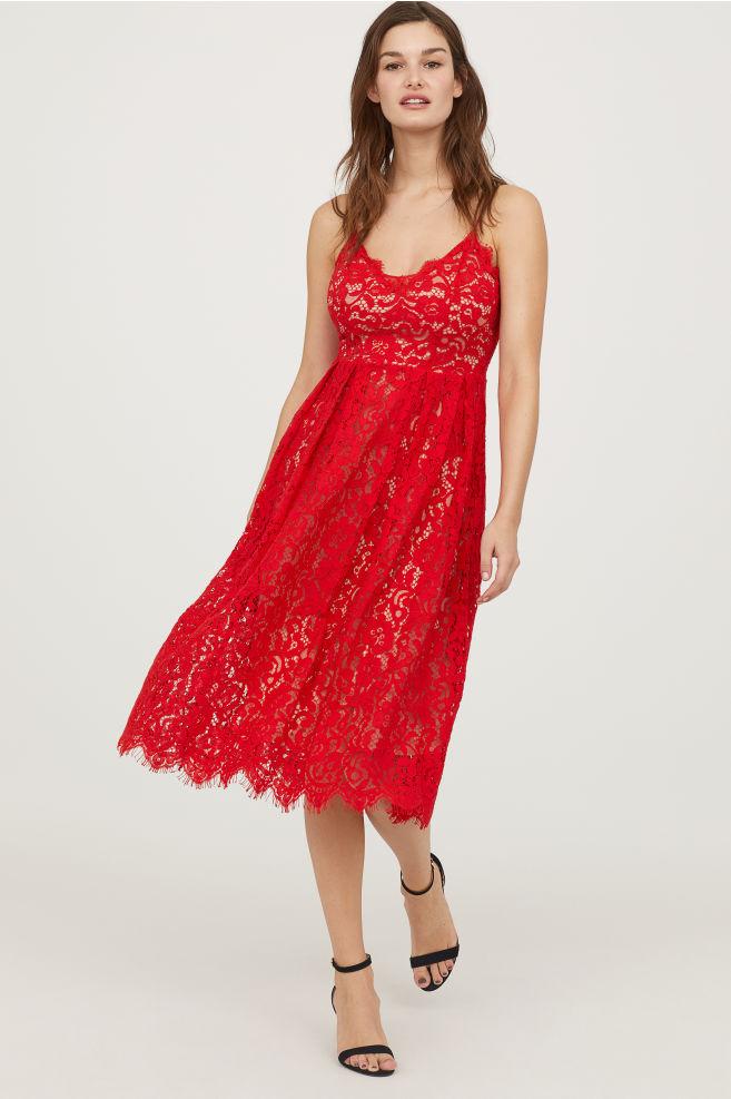 Kirmizi dantel midi elbise