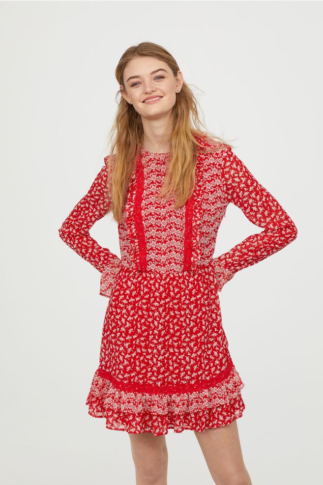 cok renkli sifon kirmizi elbise