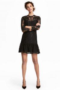 dantel detayli siyah elbise