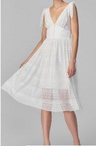 ekru korse detayli dantel elbise