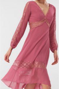 gul kurusu dantel detayli elbise