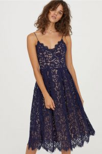lacivert midi dantel elbise