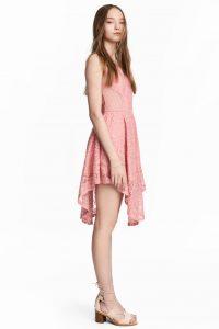 mercan pembesi dantel elbise