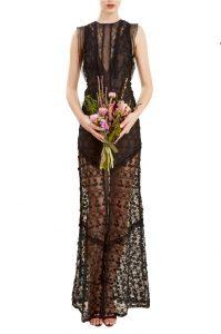 siyah dantel uzun gece elbisesi