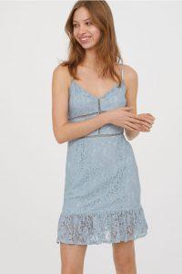 turkuaz dantel elbise